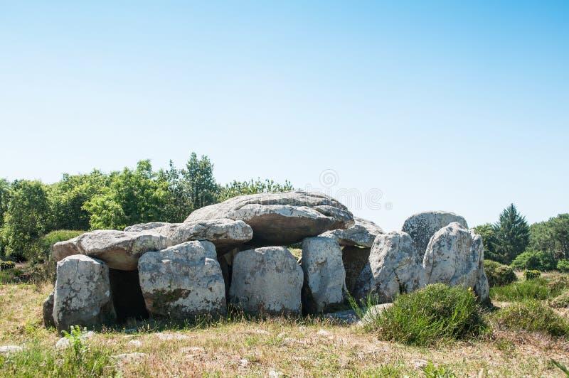 Sławny dolmenu megalit w Carnac, Britany, Francja - obrazy stock