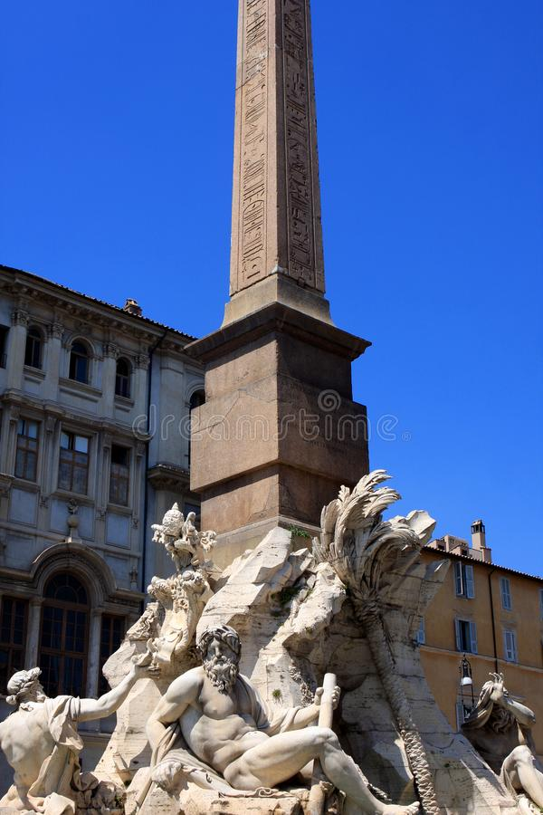 sławny fontanny Italy navona obelisku piazza Rome obrazy stock