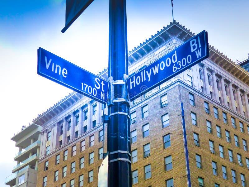 Sławny Historyczny Hollywood winogradu & bulwaru skrzyżowanie, Kalifornia obraz stock