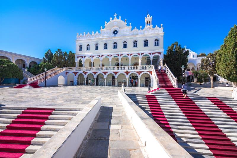 Sławny kościół Panagia Megalochari Evangelistria, Tinos wyspa, Cyclades obraz royalty free