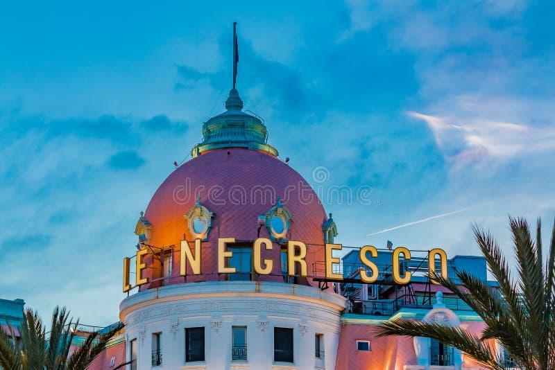 Sławny luksusowy hotel Hotelowy Negresco na deptaka des Anglais w N obrazy royalty free