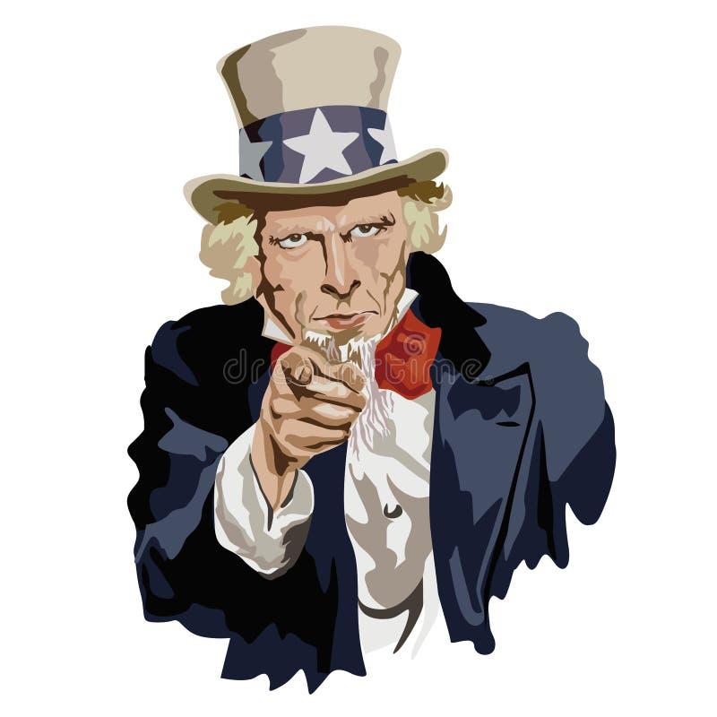 Sławny portret wujek sam, dziejowa postać i amerykanina emblemat, ilustracji