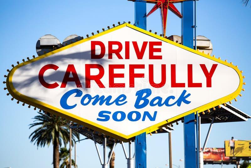 Sławny powitanie bajecznie Las Vegas znak, Las Vegas, Nevada, USA fotografia stock