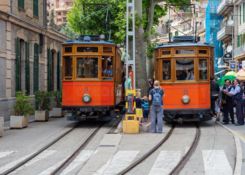 Sławny stary tramwaj Portowy De Soller, Palma Mallorca, Hiszpania fotografia royalty free