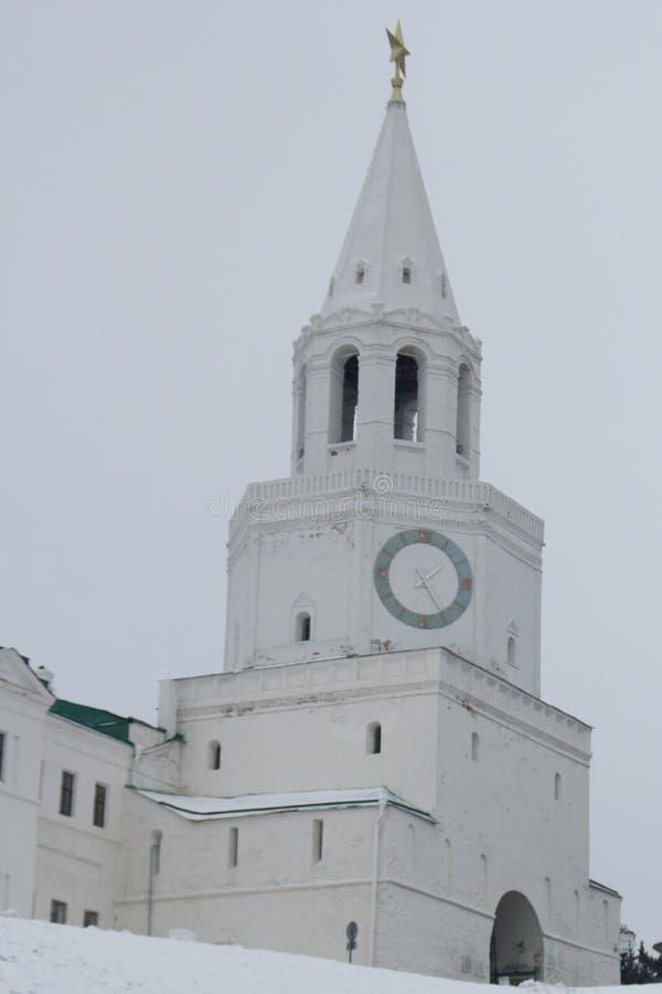 Sławny zabytek Tatarstan kapitał Kazan Kremlin, Spasskaya wybawiciela wierza - zdjęcia royalty free