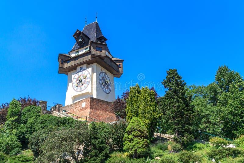 Sławny Zegarowy wierza w Graz, Austria (Uhrturm) obraz royalty free