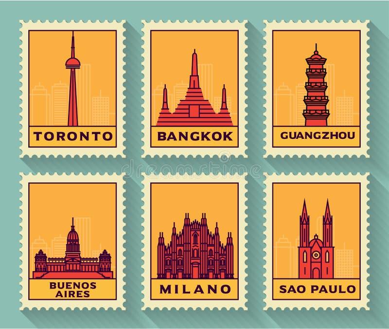 Sławnych miast Stemplowa kolekcja royalty ilustracja