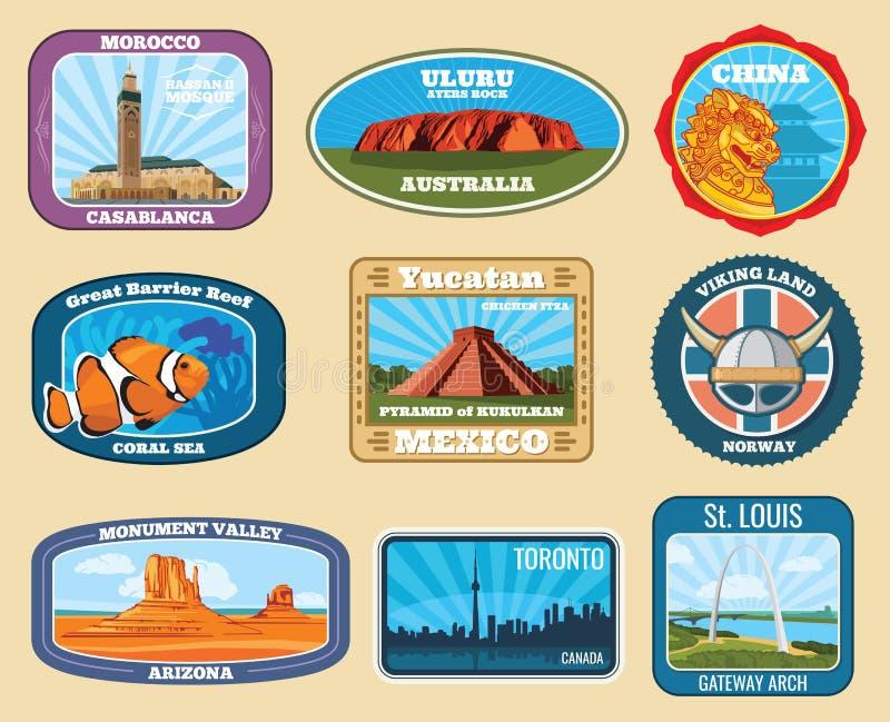 Sławnych zabytków i krajowych punktów zwrotnych podróży retro wektorowe etykietki ilustracji