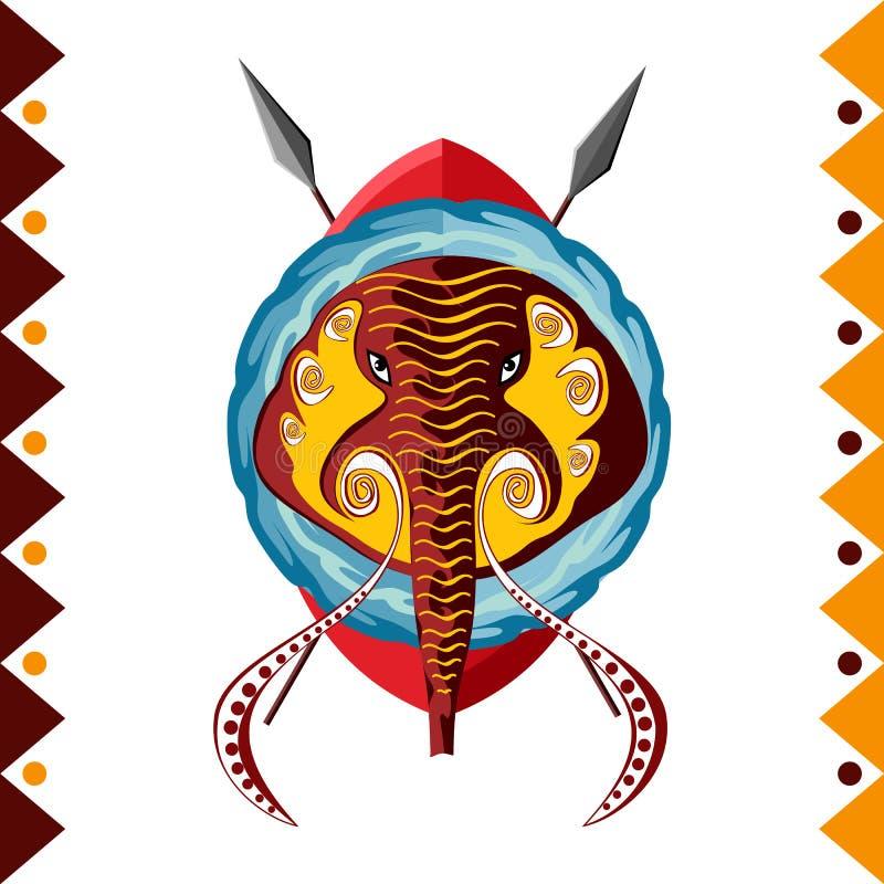 słoń afrykański Afryka zwierzęca wektorowa ilustracja royalty ilustracja