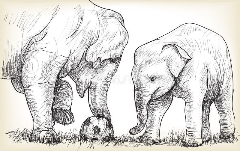 Słoń bawić się futbol, nakreślenie wolnej ręki remisu ilustracja ilustracji