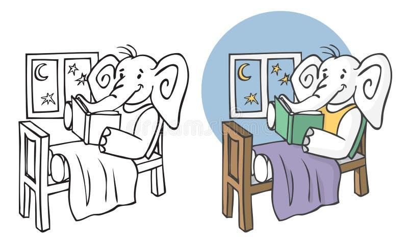 Słoń czyta książkę przy nocą ilustracji