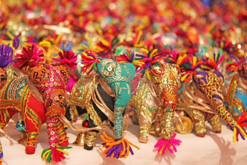 Słoń figurki od tkaniny ręki broderii Prezent pamiątka India zdjęcie royalty free