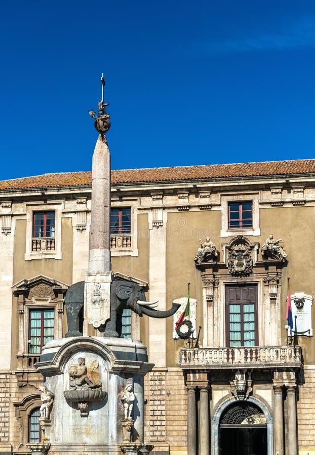 Słoń fontanna i urząd miasta Catania, Sicily obrazy royalty free