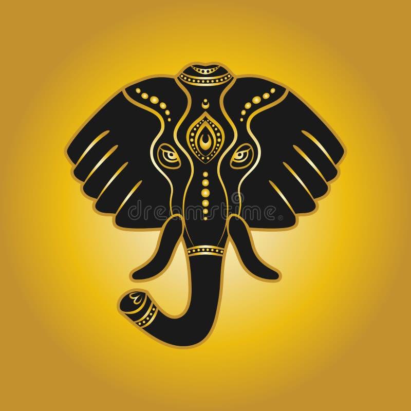 Słoń głowa w złotym kolorze ilustracji