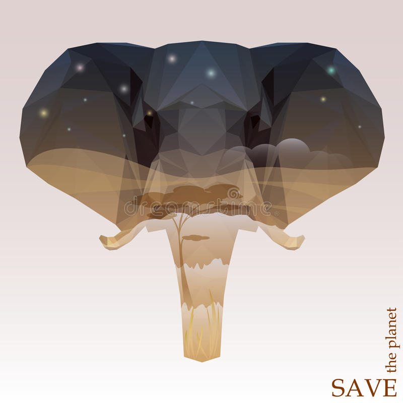 Słoń głowa z nocy sawanny widokiem pojęcie ilustracja na temacie ochrona natura i zwierzęta ilustracja wektor