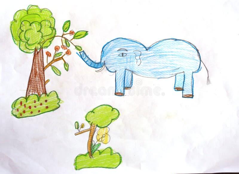 Słoń i drzewa z kredkowymi rysunkami ilustracja wektor