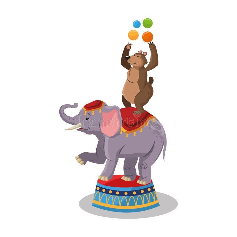 Słoń i niedźwiedź cyrk i karnawałowy projekt royalty ilustracja