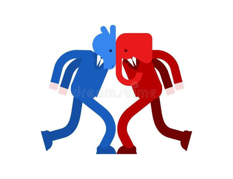 Słoń i osioł versus Demokrata i republikanin bitwa Polityczny patriotyczny vs Rewolucjonistka i błękitna walka royalty ilustracja