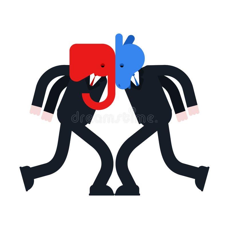 Słoń i osioł versus Demokrata i republikanin bitwa Polityczny patriotyczny vs Rewolucjonistka i błękitna walka ilustracja wektor