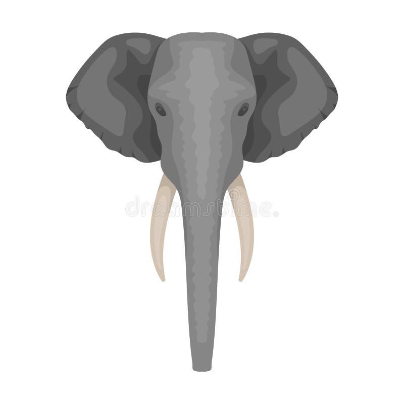 Słoń ikona w kreskówka stylu na białym tle Realistyczna zwierzę symbolu zapasu wektoru ilustracja royalty ilustracja