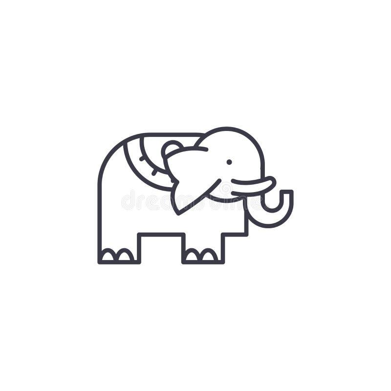 Słoń ikony liniowy pojęcie Słonia wektoru kreskowy znak, symbol, ilustracja ilustracji