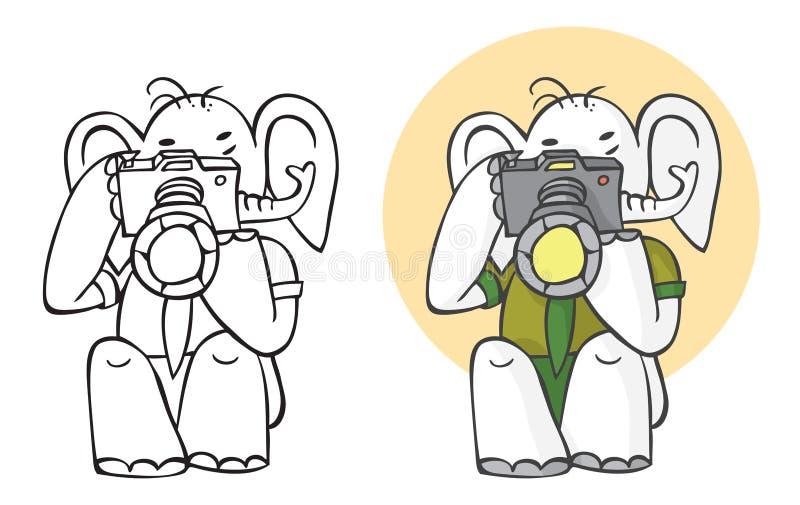 Słoń kamera i fotograf royalty ilustracja