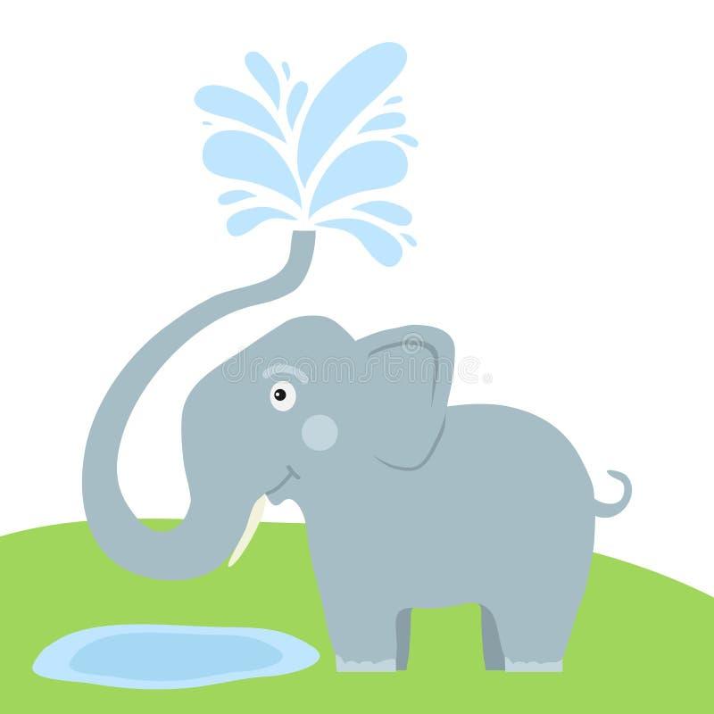 Słoń kiści woda z bagażnikiem Bryzgać wodę od słonia ` s bagażnika royalty ilustracja