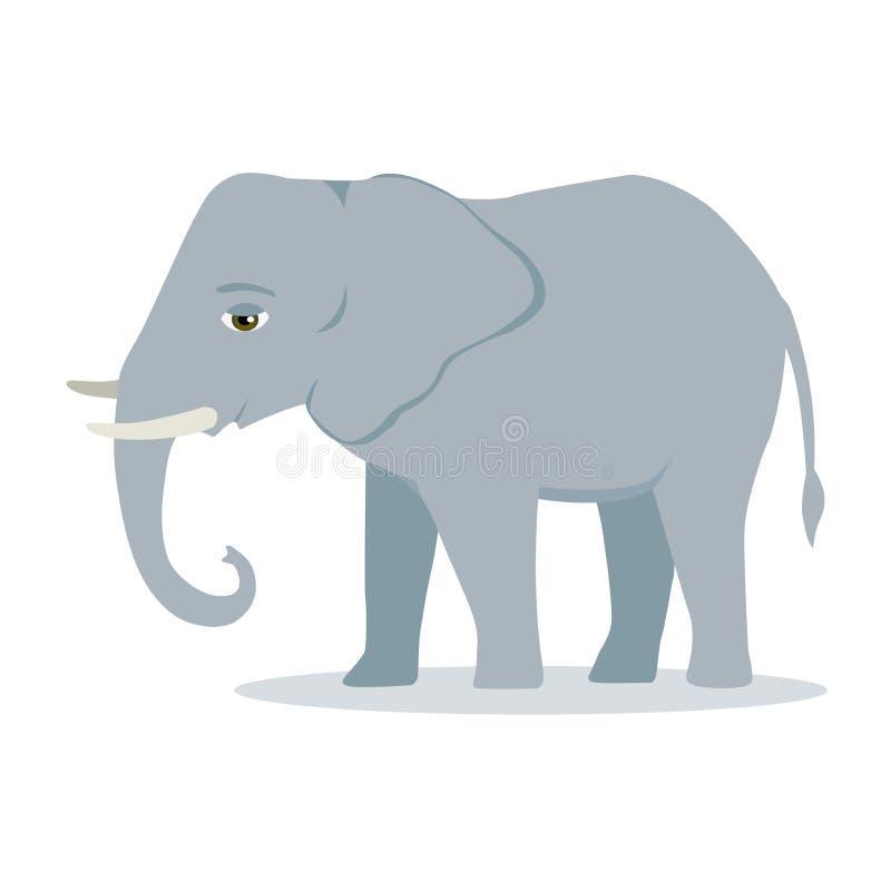 Słoń kreskówki wielkiego ssaka słonia azjatykciego słonia lasowy afrykański krzak z wielkich ucho wektorową ilustracją odizolowyw royalty ilustracja