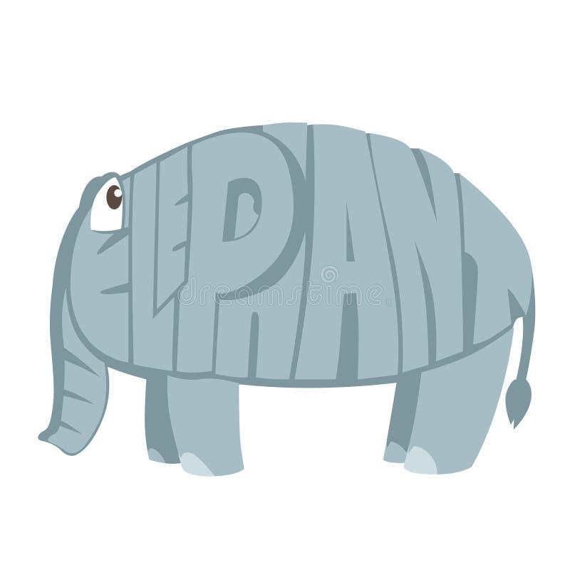 Słoń kreskówki zwierzę w listach royalty ilustracja
