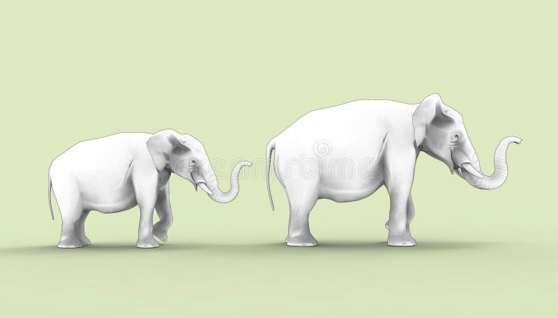 Słoń matka Dwa i dziecko Rysuje royalty ilustracja