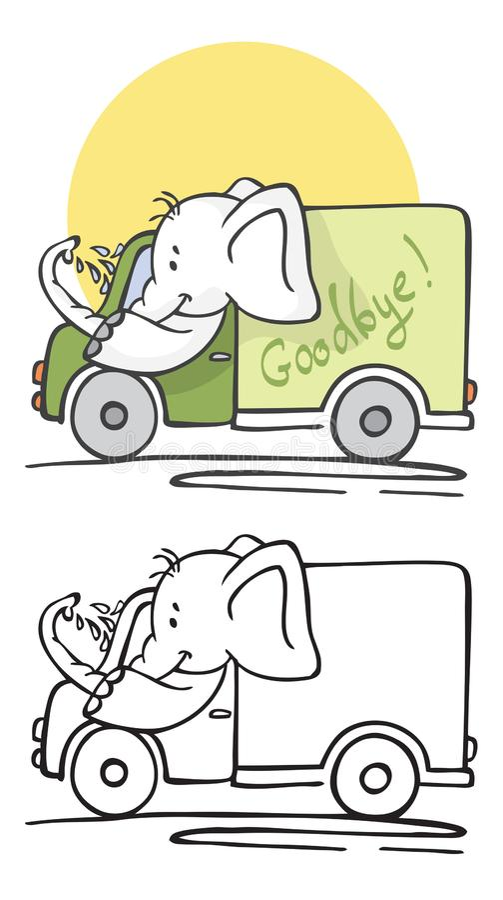 Słoń myje samochód i jedzie ilustracji