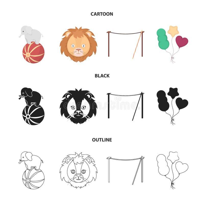 Słoń na piłce, cyrkowy lew, crossbeam, piłki Cyrk ustalone inkasowe ikony w kreskówce, czerń, konturu stylowy wektor ilustracji