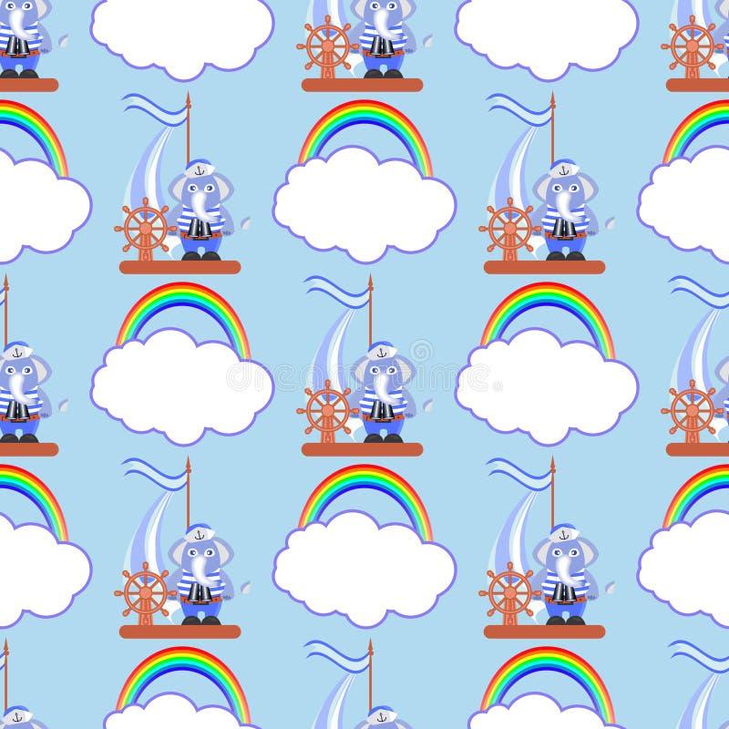 Słoń na statku z tęczą i chmurą royalty ilustracja