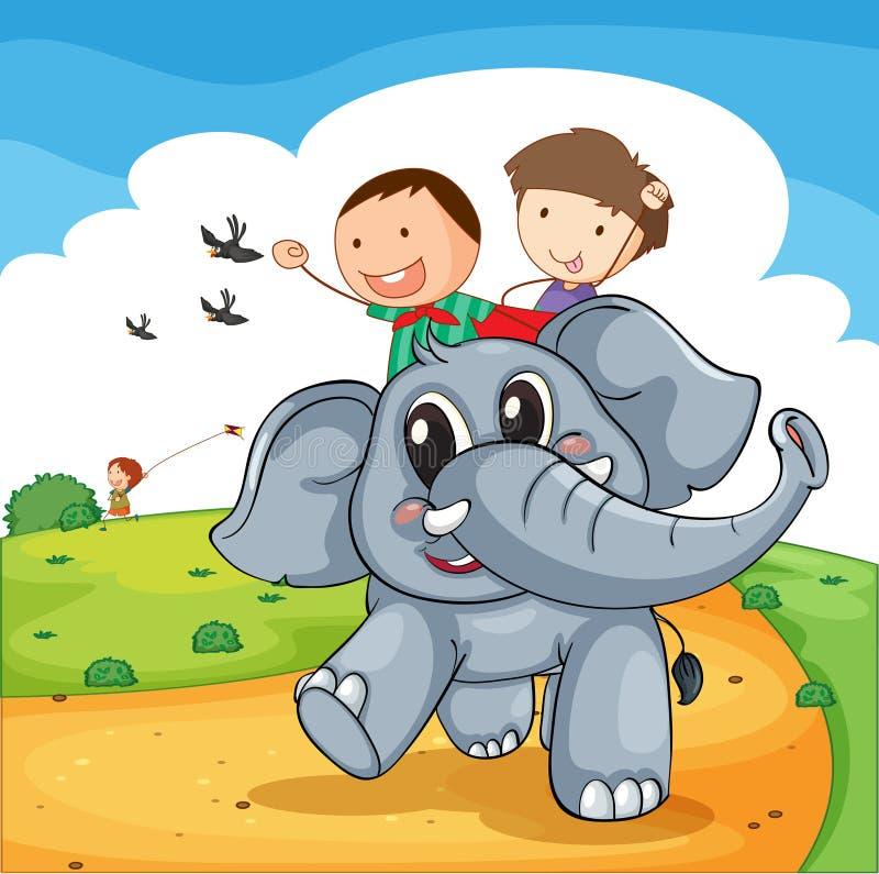 Słoń przejażdżka ilustracji