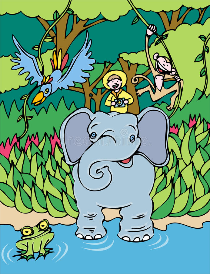 słoń przejażdżka royalty ilustracja