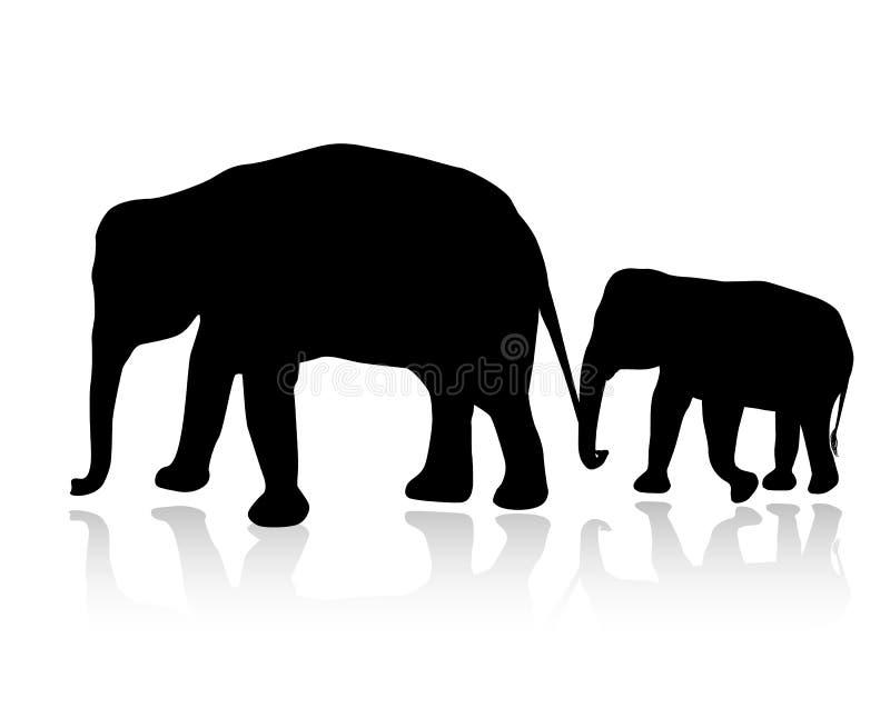 Słoń rodzinna sylwetka na białym tle royalty ilustracja
