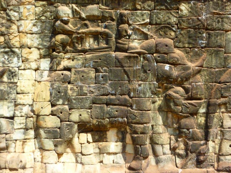 Słoń rzeźba przy Ankgor Thom w Kambodża obrazy stock