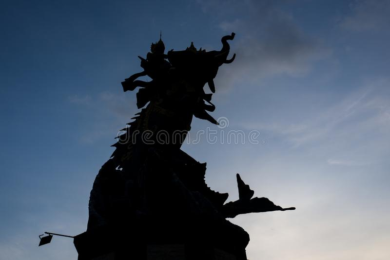 Słoń statua przy echo plażą w Canggu, Bali zdjęcie royalty free