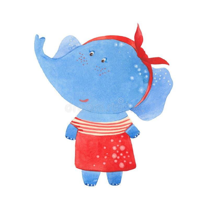 Słoń w czerwieni sukni ilustracji
