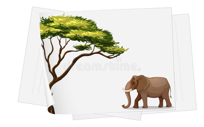 Słoń w dżungli na papierze royalty ilustracja