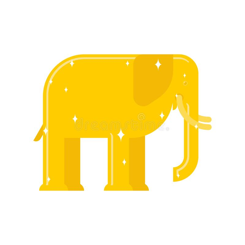 Słoń Złocista statua odizolowywająca Afrykańska zwierzęca Złota rzeźba ilustracja wektor
