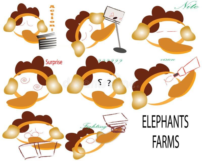 Słoń z brąz pomarańcze włosianymi twarzami i bagażnikami uprawia ziemię Z WSZYSTKIE reakcją royalty ilustracja