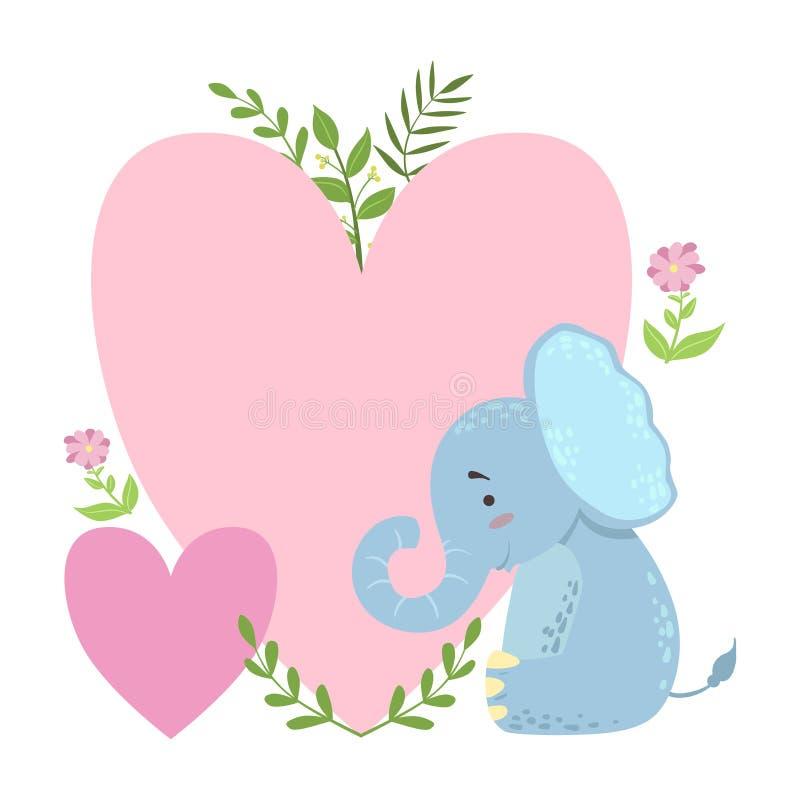 Słoń Z Dwa Dużymi sercami I rośliny Wektorowy majcher, szablonu St walentynek dnia wiadomości elementu Brakujący tekst Z royalty ilustracja