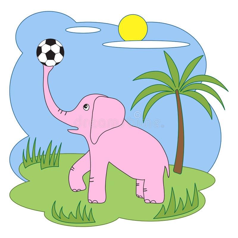 Słoń z piłki nożnej piłką również zwrócić corel ilustracji wektora ilustracji