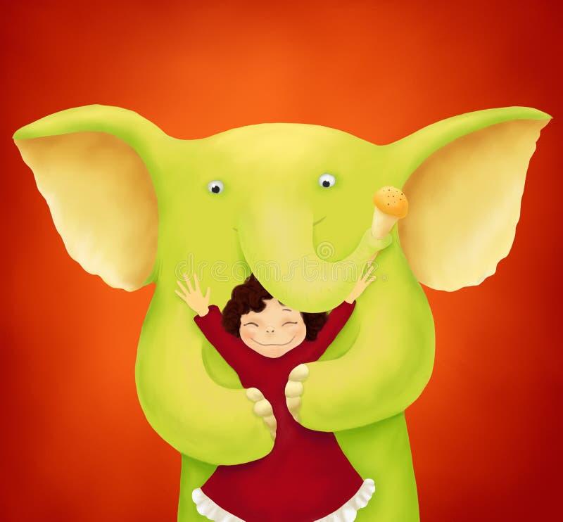 słoń zieleń ilustracji