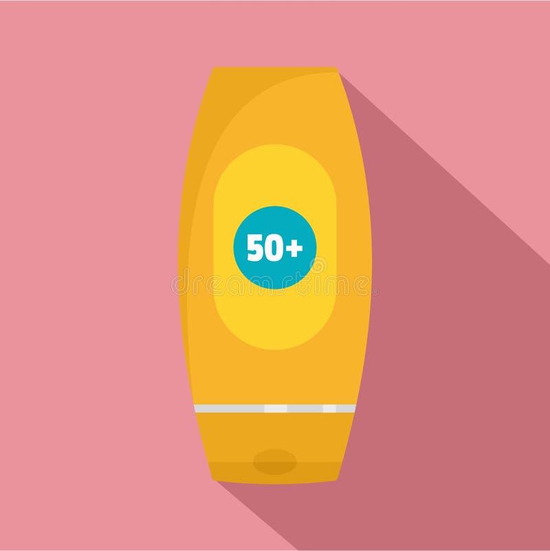 50 słońc ochrony creme ikona, mieszkanie styl ilustracji