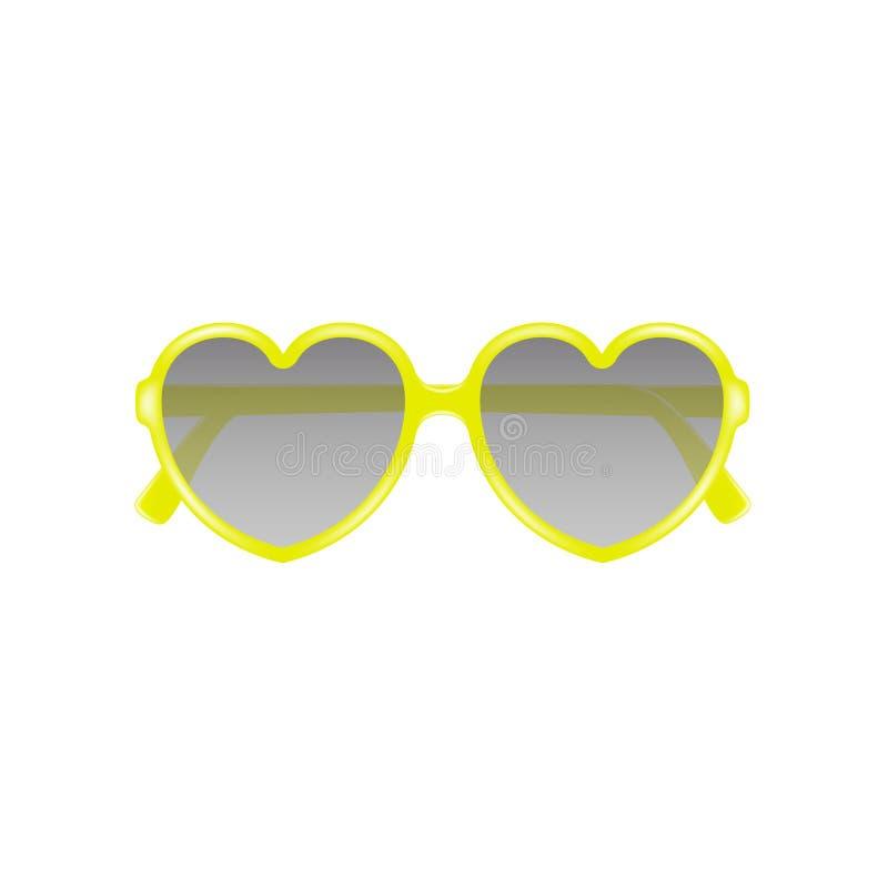 Słońc szkła w kształcie serce w żółtym projekcie royalty ilustracja