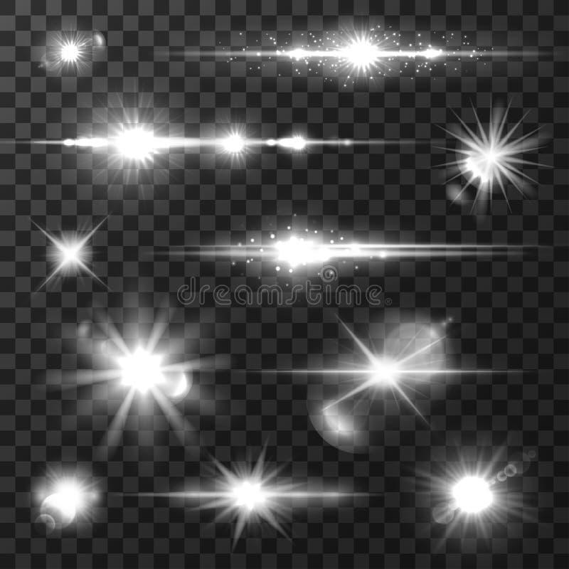 Słońca światło, obiektywu raca, błyszczy gwiazdę dla sztuka projekta royalty ilustracja