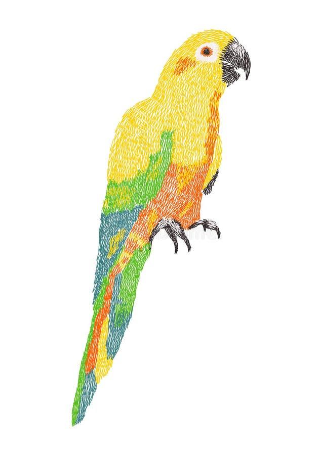 Słońca conure grafiki papuzi hafciarski projekt dla odziewać royalty ilustracja