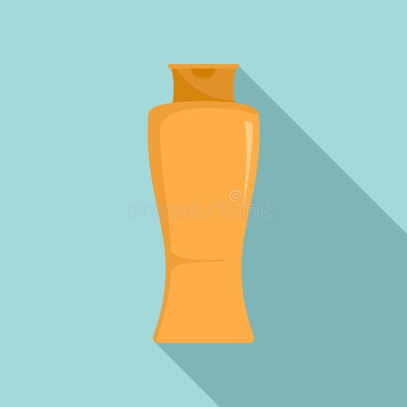 Słońca creme butelki ikona, mieszkanie styl ilustracji